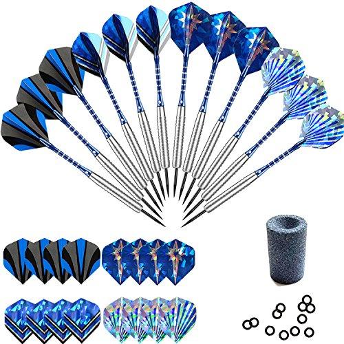 Professional Steel Tip Darts Set 22 grams -12 Pcs Stainless Needle Tipped Dart For Dart Board, Blue Aluminum Shafts,16 holographic Standard Flights, Nickel Silver Metal Barrels and Dart Sharpener ()