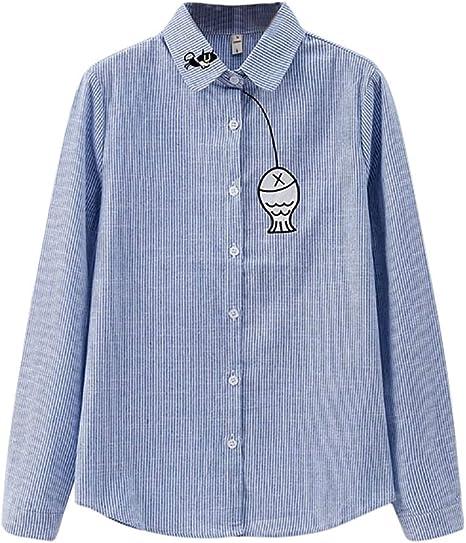 SMILEQ Botón Superior de la Mujer Camisa de la Solapa Cat Fish Impresiones de Manga Larga Blusa Suelta: Amazon.es: Deportes y aire libre
