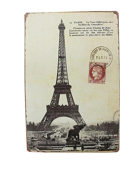 Paris Wall Decoration Tin Metal Drawing Vintage Retro Classic