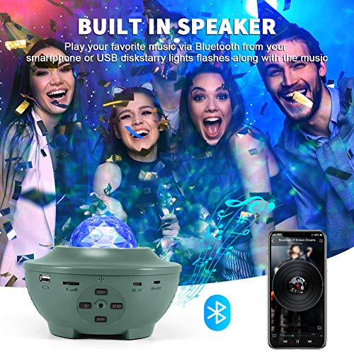 Galaxy Projector, VOLADOR Star Night Light Projector with Remote Control, Ocean Wave Projection Light with Bluetooth Music Speaker for Kids Adults Bedroom Ceiling Game Room Home Party - Green