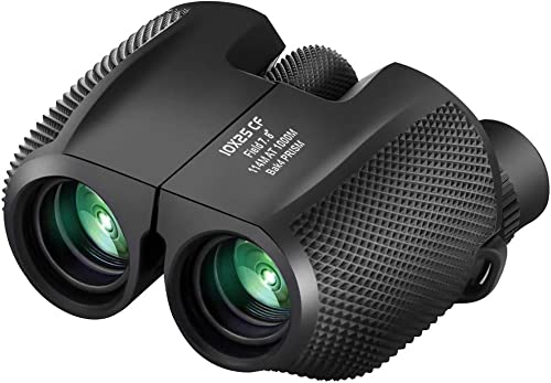 Binoculars Compact Lightweight 10×25 – Waterproof Antiskid Binocular Weak Light Night Vision Folding High Powered Binoculars for Bird Watching, Travel, Hunting, Outdoor Sports Games and Concert Theate