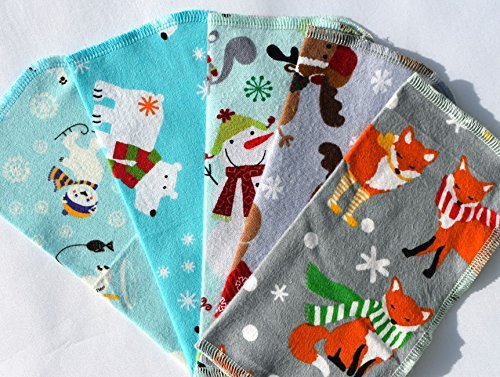 1 Ply Happy Winter Animals, Set Napkins 8x8 inches 5 Pack - Little Wipes (R) Flannel