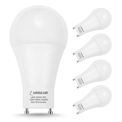 lohas gu24 bulb a19 led bulb 60w equivalent 9w led 5000k daylight
