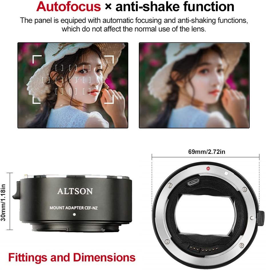 Auto Focus Lens Mount Adapter Ring for Canon EF//EF-S Lens to Nikon Z Mount Camera Z6 Z7 EF//EF-S Lens to Nikon Z Mount Smart Adapter CEF-NZ
