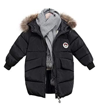 14590befef4e Amazon.com  FOURSTEEDS Girl s Down Parkas with Fur Hood White Duck Down  Jacket Winter  Clothing