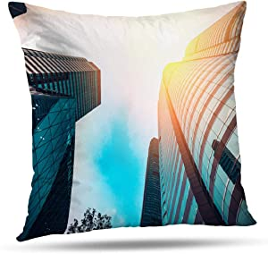 Kutita Modern Decorative Pillow Covers, Modern Architecture with Sun from Construction Throw Pillow Decor Bedroom Livingroom Sofa 18X18 inch