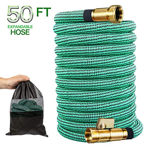 Begleri Garden Hose 50 ft, Water Hose Expandable Lightweight with 3/4″ Solid Brass Fittings,Extend Watering Hose, Leakproof Connector + Extra Strength Fabric Protection with Storage Bag