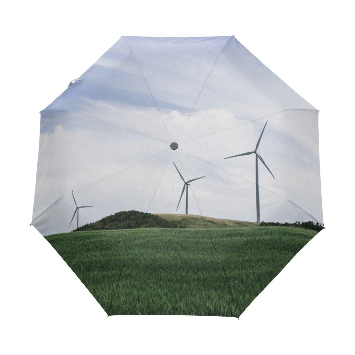 Senya Saobao防風と防雨トラベル傘with自動開いて閉じFolding風車Meadowブルースカイポータブル折りたたみ式太陽雨傘   B07FP496SS