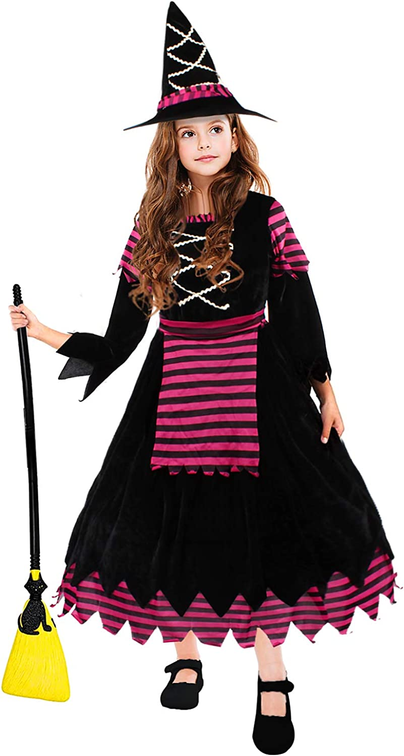 CREPRO Halloween Witch Costumes for Girls, Fairytale Cute Witch Dress Halloween Decor