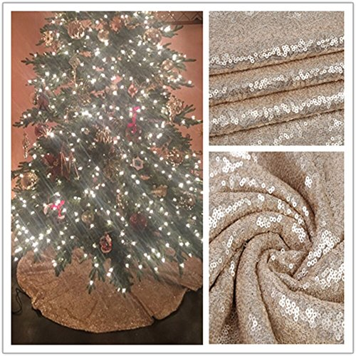 TRLYC Glittery Sequin Holiday Tree Skirt, 48-Inch Champagne Christmas Tree Skirt