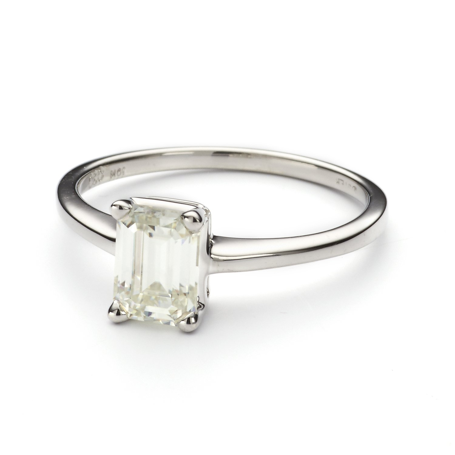 7x5mm Emerald Cut Moissanite Solitare Ring- Size 7, 1.01ct DEW By Charles & Colvard