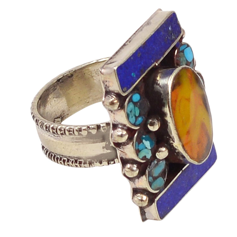 Silvestoo Jaipur Blue Turquoise /& Lapis Lazuli 925 Silver Plated Ring Sz 10 PG-117745