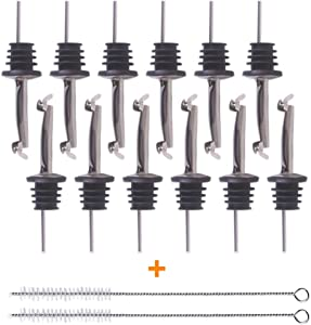 Bodian (12 Pack Food Grade Stainless Steel Wine Pourer Spouts Tapered Spout with (Automatic Cover(12pack))