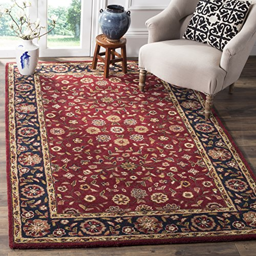 Safavieh Heritage Collection HG966A Handcrafted Traditional Oriental Red and Navy Wool Area Rug (3' x 5') (Wool Oriental Rugs)