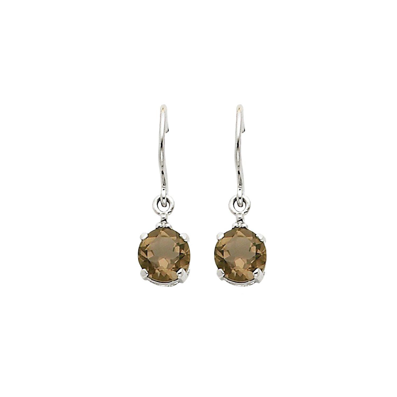 14k White Gold Smokey Topaz & Diamond Dangle Earrings