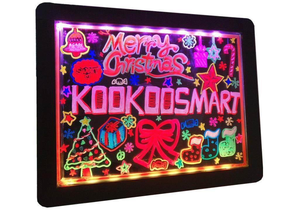 Kookoosmart LED Writing Message Board, Neon Glow Drawing Board, Light Up Flashing Box Message, Erasable Board Arts and Acrylic Kids Crafts Doodle, for Shop/School/Bar/Cafe (40×30CM) by Kookoosmart