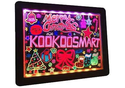 Kookoosmart LED Glow Art Drawing Board tablero iluminado borrable en negro con 36 efecto brillante con 6 marcadores fluorescentes para que los niños ...