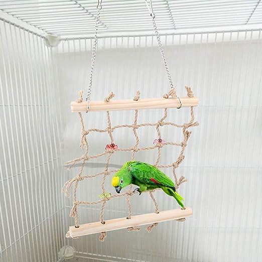 Columpio de pájaros Escalera de escalada Colorido Mascota de aves Loro Masticar Juguete Cuerda Hamaca Jaula colgante de madera Juguetes Suministros de mascotas para guacamayos grises africanos cacatúa: Amazon.es: Productos para mascotas