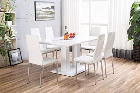 New Imperia White High Gloss Dining Table Set And 6 Chrome Faux Leather Hatched Dining Chairs & New Imperia White High Gloss Dining Table Set And 6 Chrome Faux ...