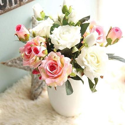 Fleurs Artificielles Fleur Plastique Fausse Fleur Roses 9 Chefs En Soie Bouquet Mariage Pour Fete De Jardin A La Maison Decor Rose Blanc