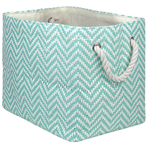 """DII Oversize Woven Paper Storage Basket or Bin, Collapsible & Convenient Home Organization Solution for Office, Bedroom, Closet, Toys, Laundry(Medium – 15x10x12""""), Aqua Chevron"""