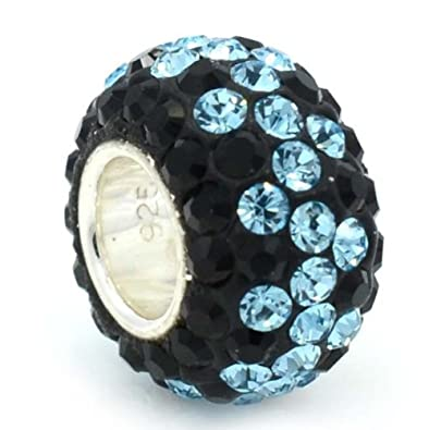 ICYROSE Solid 925 Sterling Silver Light Green and Black Crystals Charm Bead for European Snake Chain Bracelets