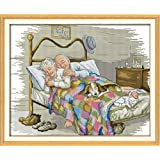Counted Cross Stitch Kits- Cross Stitch Pattern The Old Married Couple with 14CT Without Pre-Printed Fabric,Cross-Stitch Hand Embroidery Kit - Art Crafts Sewing 18''x14'' …