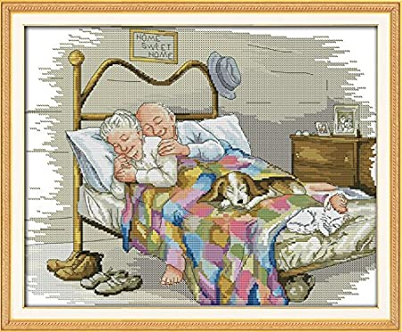 Joy Sunday Stamped Cross Stitch kits- Cross Stitch Pattern The Old Married Couple with 11CT Printed Fabric DMC , Cross-stitch Hand Embroidery Kit Needlework DMC 23''x18'' Cross-stitch Hand Embroidery Kit Needlework DMC 23''x18'' Jsunday