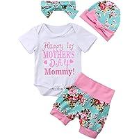 Newborn Infant Kids Girl Short Sleeve Romper Tops Legging Happy 1st Mother 's Day 4Pcs Toddler Clothes