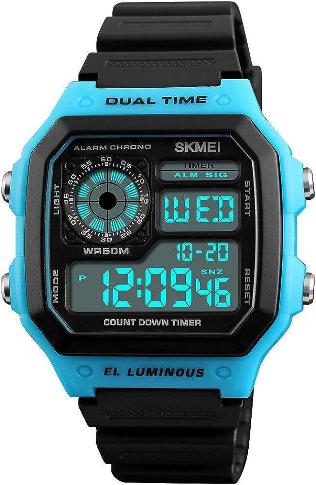 Mens Sport Watch Digital Dual Time Alarm Stopwatch Electronic Quartz Waterproof Watch