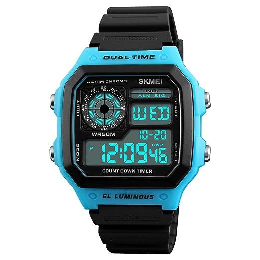 Digital reloj hombres doble tiempo cuenta atrás alarma impermeable deportes al aire libre relojes LED moda clásico relojes de pulsera.: Amazon.es: Relojes