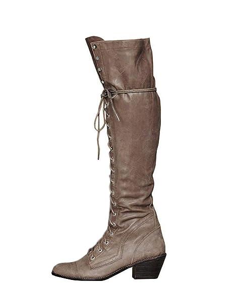 più economico e4f0f 72634 Minetom Stivali al Ginocchio Donna Autunno Inverno PU Pelle ...