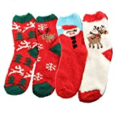 Christmas Santa Claus Holiday Winter Soft Fuzzy 4 Pack Assorted Crew Socks Set B
