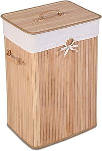 Giantex Laundry Hamper Bamboo Rectangle Basket Washing Cloth W/Bin Rangier Lid Laundry Basket Laundry Basket (Beige)