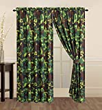 Camouflage Curtains 4 Piece Hunter Green Brown Black Camouflage Camo Pixel Curtain set