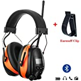 PROTEAR Bluetooth AM FM Radio Noise Reduction Safety Ear Muffs with Rechargeable Lithium Battery - Adjustable NRR 25dB Electronic Ear Hearing Protection lawn mower work headphones,with a Earmuff Clip