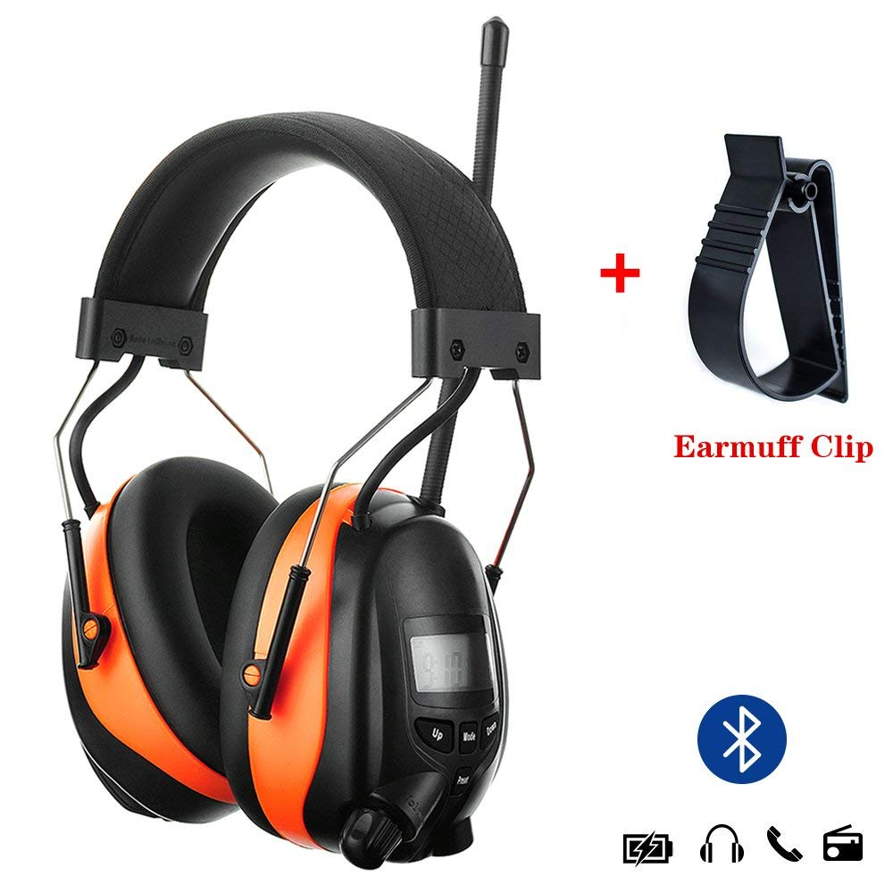 PROTEAR Bluetooth AM FM Radio Noise Reduction Safety Ear Muffs with Rechargeable Lithium Battery - Adjustable NRR 25dB Electronic Ear Hearing Protection lawn mower work headphones,with a Earmuff Clip by PROTEAR