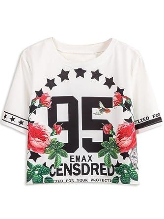 c6eba00d503d27 Persun Women s 95 Floral Print Short Sleeve Crop T-shirt Top