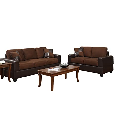 BOBKONA Seattle Microfiber Sofa And Loveseat 2 Piece Set In Chocolate Color