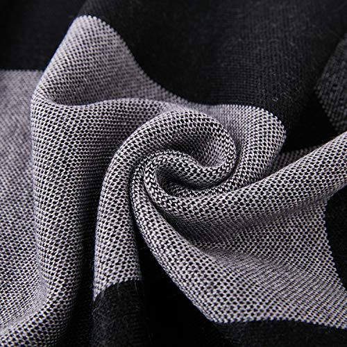 Taylormia Men's Winter Cashmere Scarf - Warm Soft Gentleman Knit Scarves Black Grey by Taylormia (Image #7)