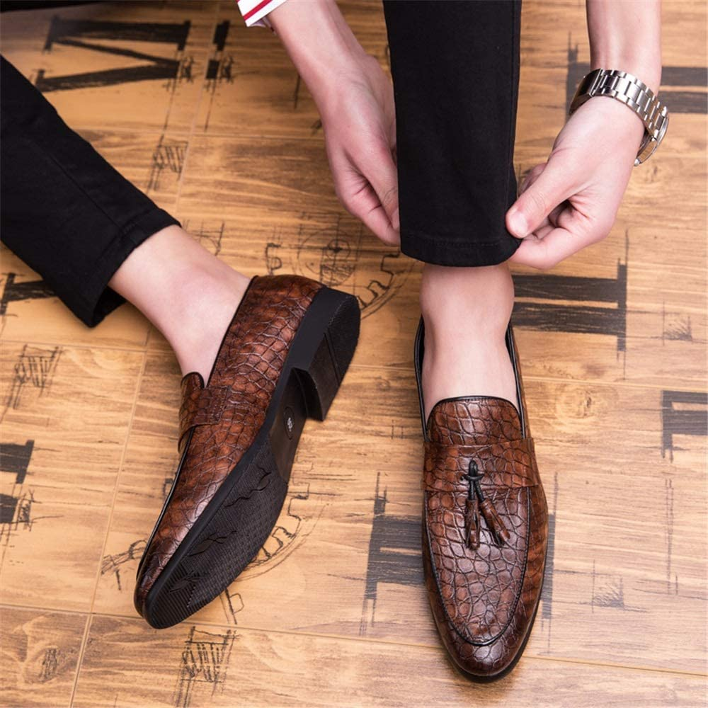 CHENJUAN Shoes Mens Fashion Oxford Casual Classic Tasseled Snakeskin Texture Slip On Shoes