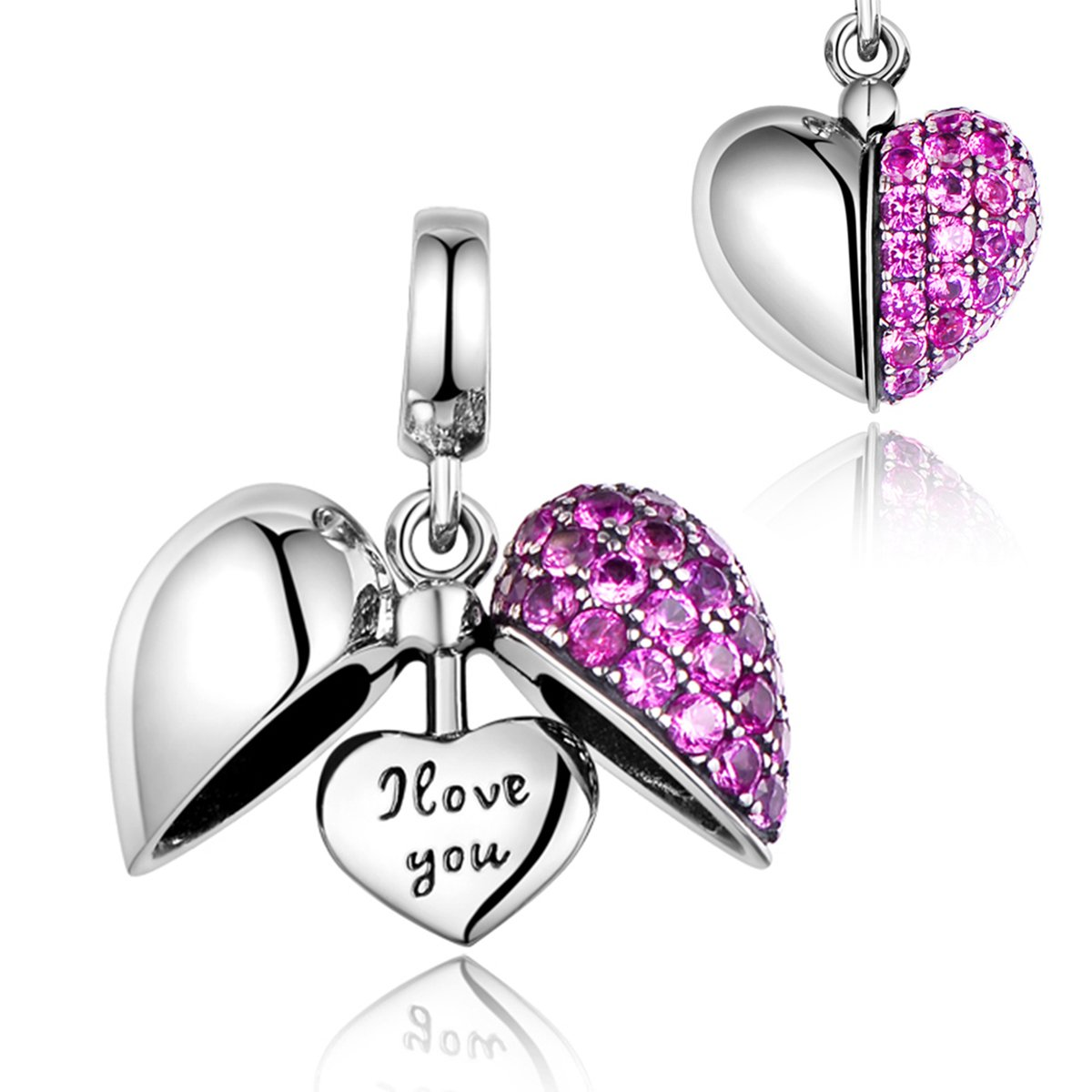 I Love You Heart Dangle Charm Sterling Silver Fit Pandora Bracelets