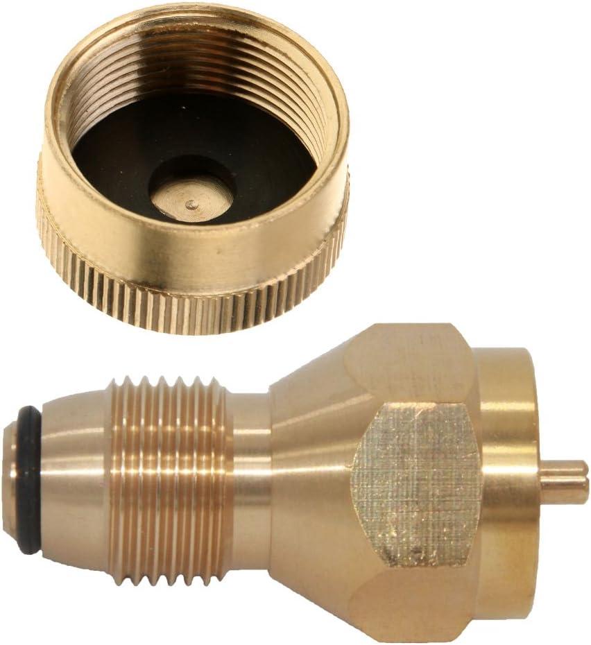 FLAMEER Tapa De Latón Macizo + Adaptador de Llenado para Botella Gas de Propano de Cilindro de Tanque Duradero Ligero Portatíl