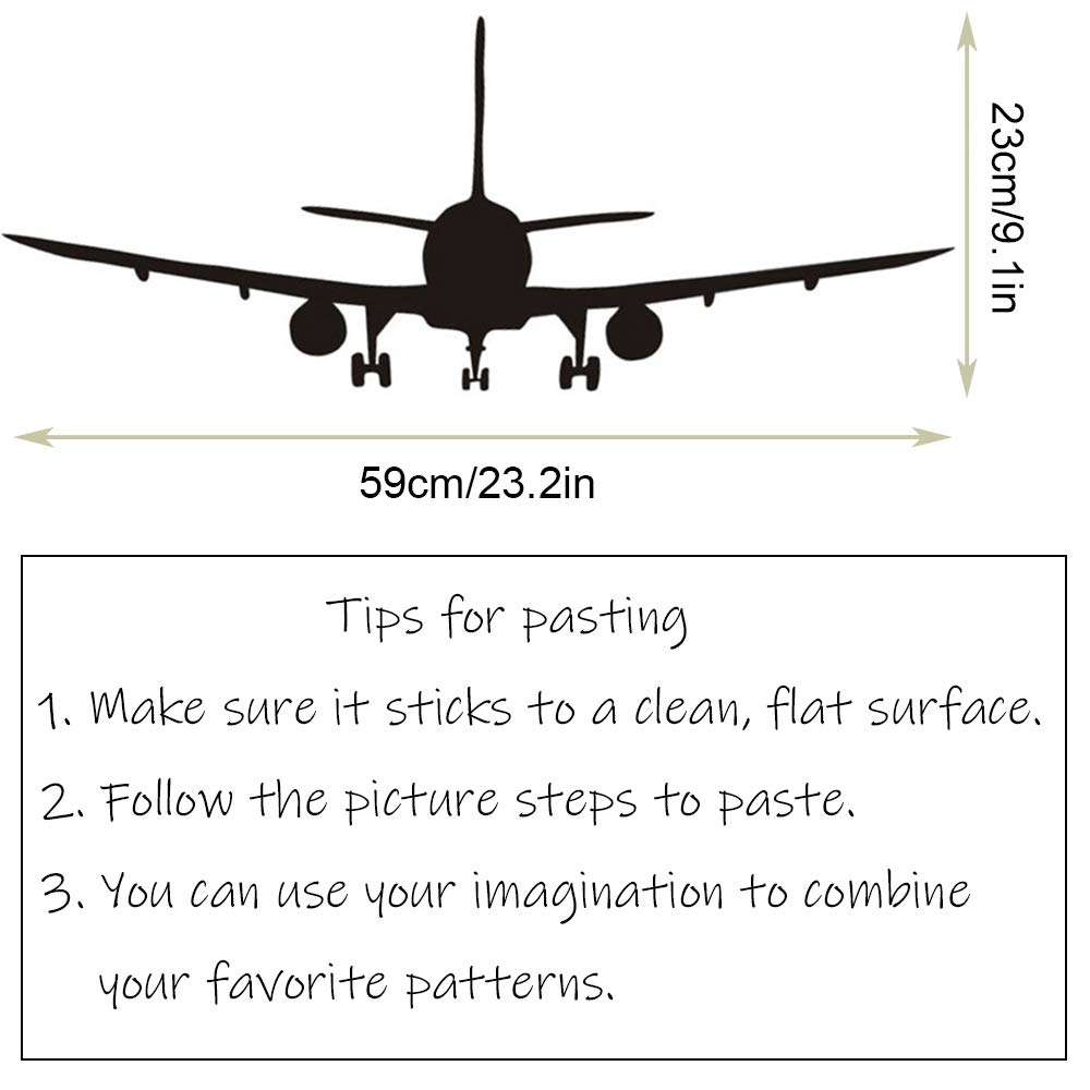 Vivid Airplane Silhouette Wall Stickers Vinyl Airliner Aircraft Biplane Wall Decal Sticker Home Removable DIY Wall Decor Art Mural for Aviation Room Decor Kids Boys Room
