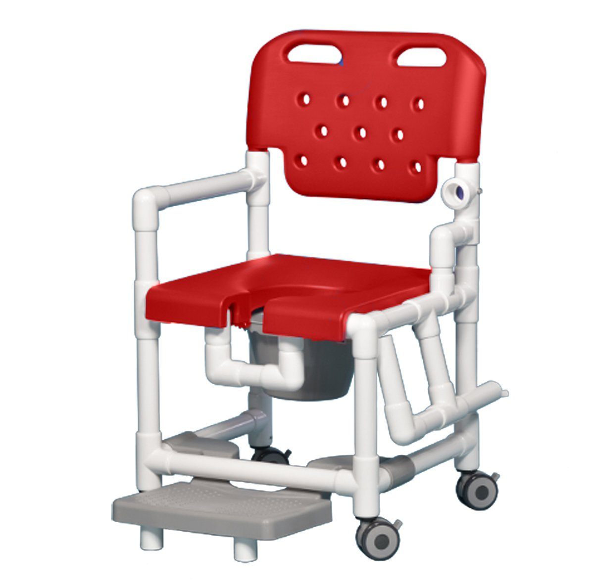 Innovative Products Unlimited ELT817 P FRLDA R Elite Shower Commode Chair with Footrest and Left Drop Arm, 21 lb