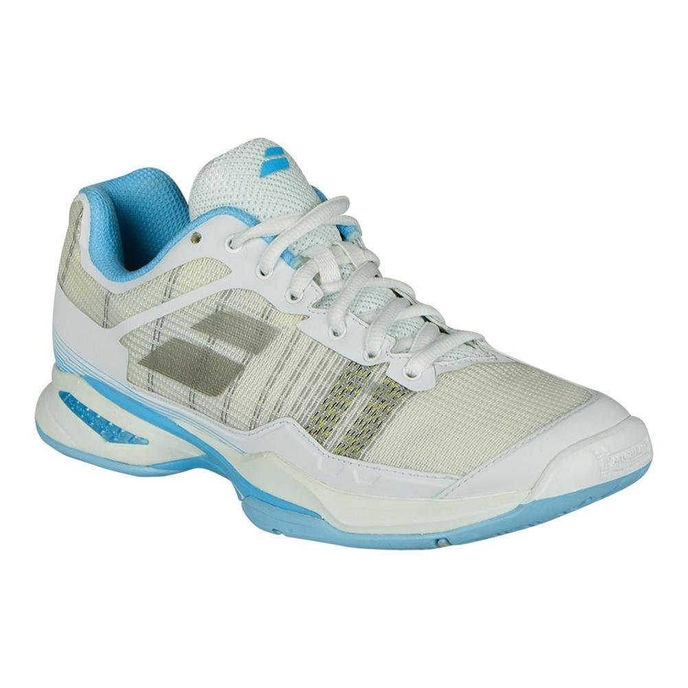 Babolat Women's Jet Mach I All Court Tennis Shoes, White/Sky Blue (Size 7.5)