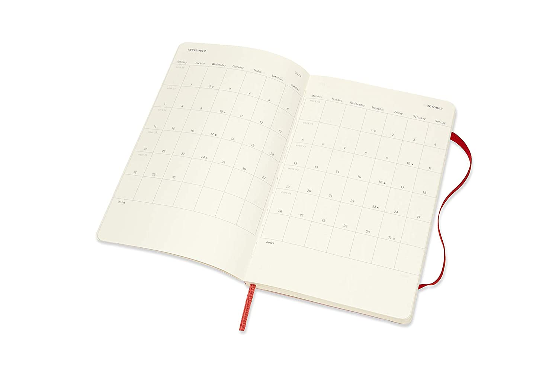 Moleskine 2019-20 Weekly - Agenda Cuaderno Semanal de 18 Meses 2019/2020, Rojo escarlata, Tamaño Grande 13 x 21 cm, 208 Páginas