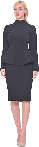 Marycrafts Womens Vintage Sleeve Office Work Peplum Pencil Midi Dresses