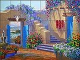 Southwest Courtyard Art Tile Mural Backsplash - A Lazy Day in Santa Fe By Mikki Senkarik Ceramic Kitchen Shower Bathroom (48'' x 36'' - 6'' tiles)