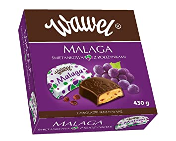 Wawel Malaga Milk Chocolate with Raisins in Nut Filling Imported From  Poland 15 2 Ounces